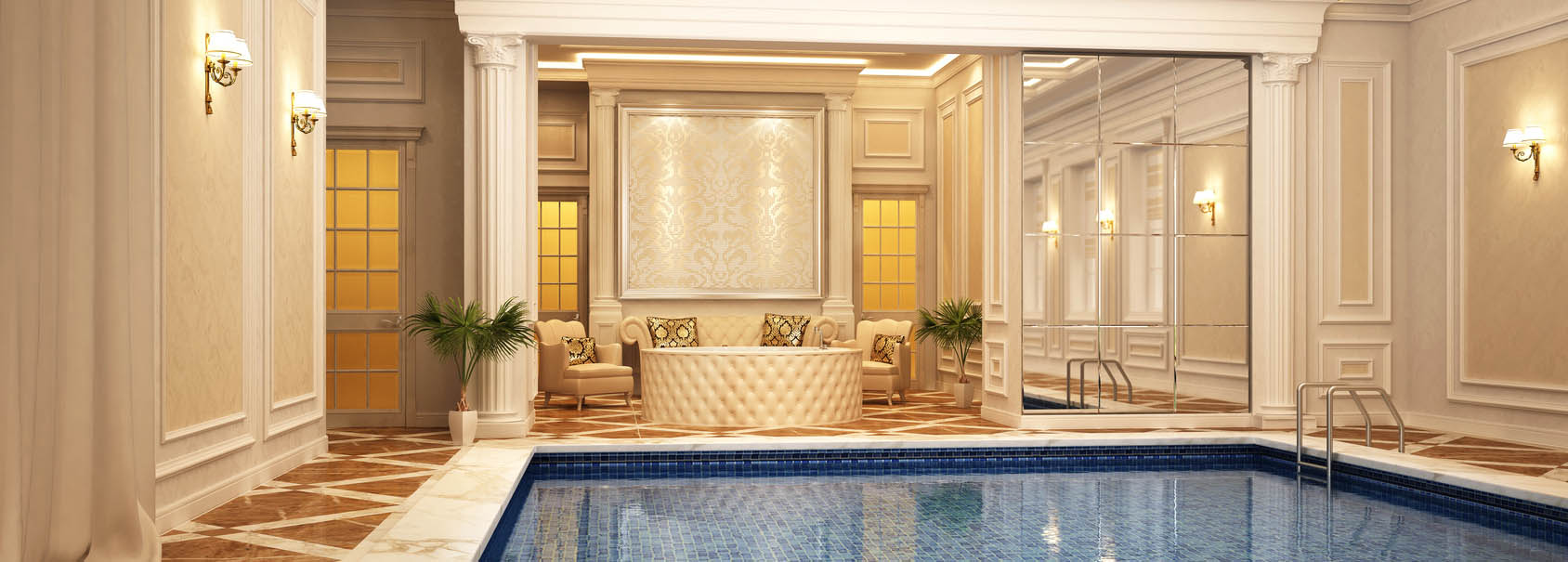 Classic swimming pool of luxury hotel