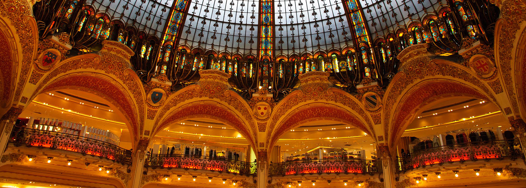 Inside the Lafayette luxury shopping mall in Paris